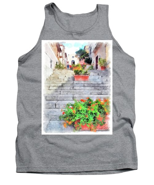 Arzachena Staircase And Church Of The Santa Lucia Tank Top