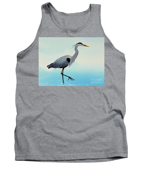 Tank Top featuring the painting Blue Water Heron by James Williamson