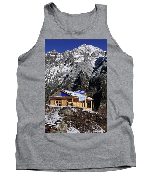 Tank Top featuring the photograph Meeting Point Mountain Restaurant by Aidan Moran