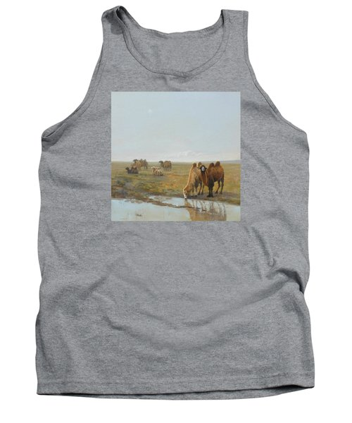 Camels Along The River Tank Top