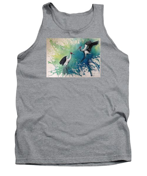 Tank Top featuring the painting Dance Of The Brolgas - Original Sold by Therese Alcorn