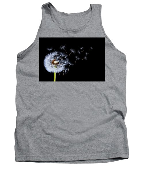 Tank Top featuring the photograph Dandelion On Black Background by Bess Hamiti