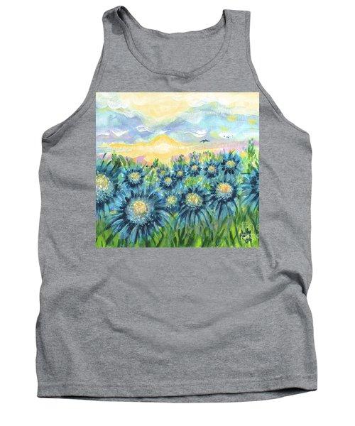 Field Of Blue Flowers Tank Top by Holly Carmichael