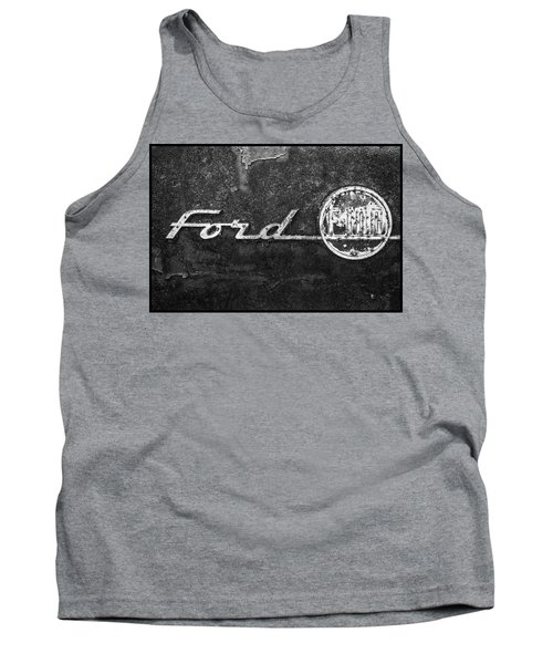 Ford F-100 Emblem On A Rusted Hood Tank Top