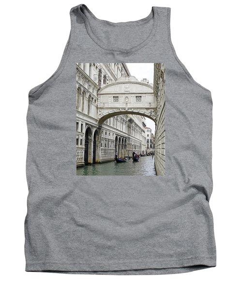 Gondolas Going Under The Bridge Of Sighs In Venice Italy Tank Top by Richard Rosenshein