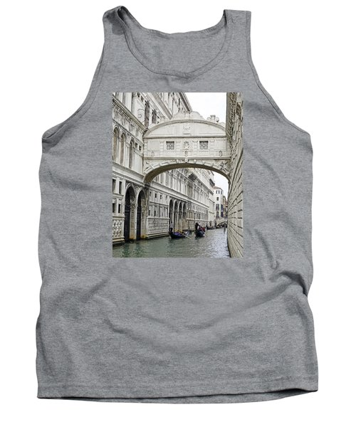 Gondolas Going Under The Bridge Of Sighs In Venice Italy Tank Top