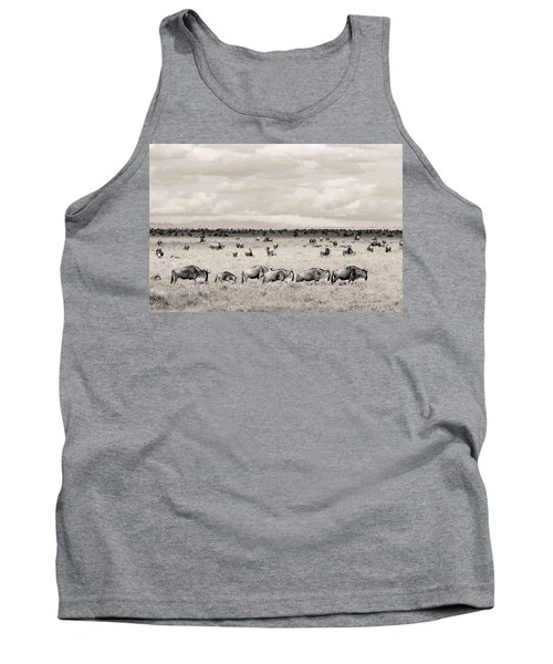 Tank Top featuring the photograph Herd Of Wildebeestes by Stefano Buonamici