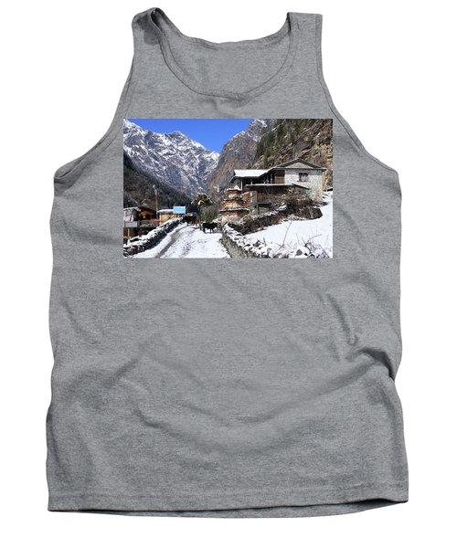Tank Top featuring the photograph Himalayan Mountain Village by Aidan Moran