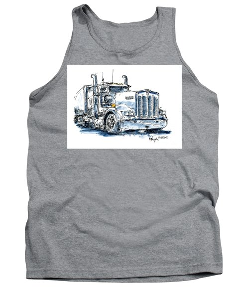 Kenworth Truck Ink Drawing And Watercolor Tank Top