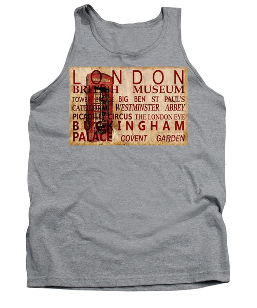 London Vintage Poster Red Tank Top