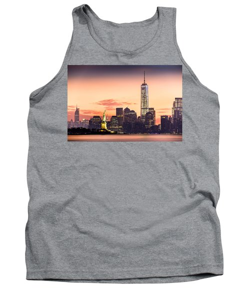 Lower Manhattan And The Statue Of Liberty At Sunrise Tank Top