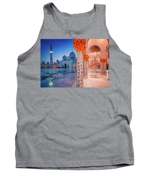 Night View At Sheikh Zayed Grand Mosque, Abu Dhabi, United Arab Emirates Tank Top