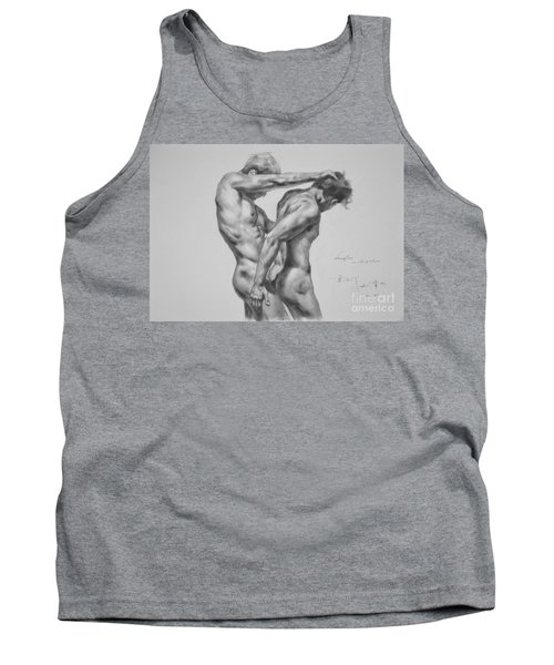 Original Drawing Sketch Charcoal Male Nude Gay Interest Man Art Pencil On Paper -0035 Tank Top by Hongtao     Huang