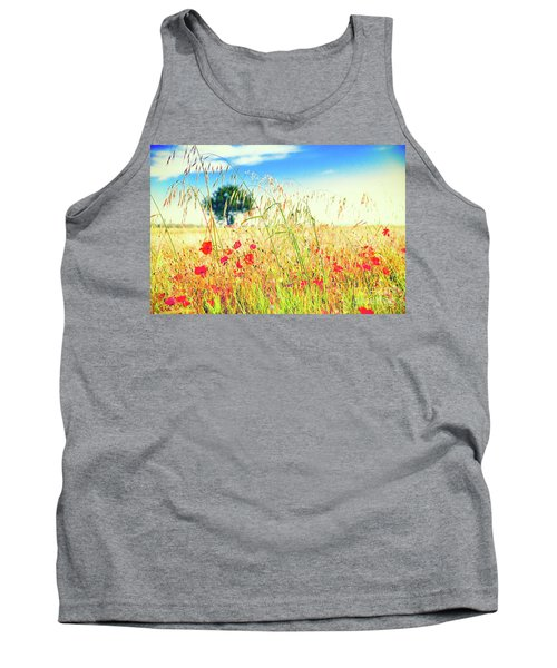 Tank Top featuring the photograph Poppies With Tree In The Distance by Silvia Ganora