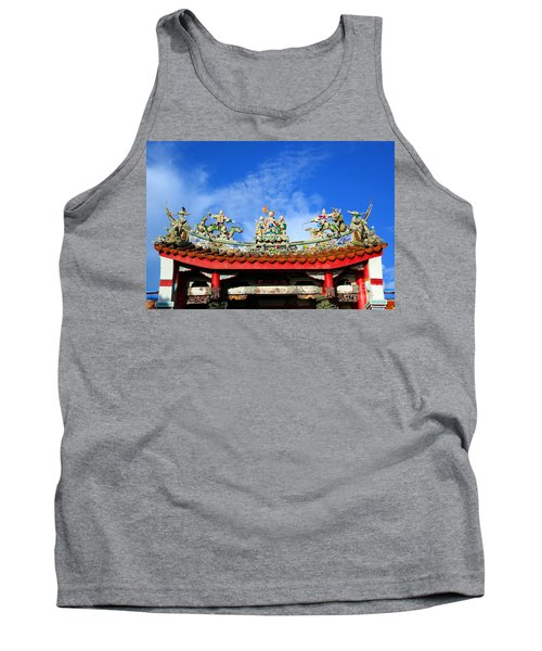 Tank Top featuring the photograph Richly Decorated Chinese Temple Roof by Yali Shi