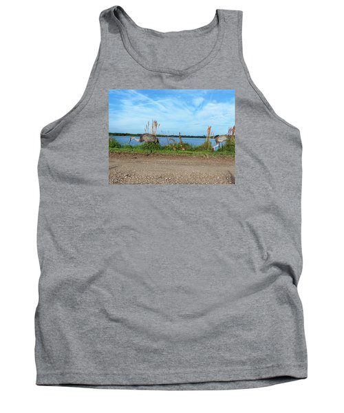 Tank Top featuring the photograph Sandhill Crane Family  by Chris Mercer