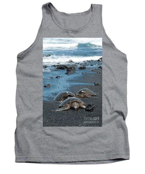 Turtles On Black Sand Beach Tank Top