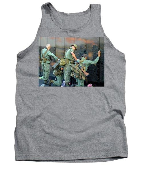 Veterans At Vietnam Wall Tank Top by Carolyn Marshall