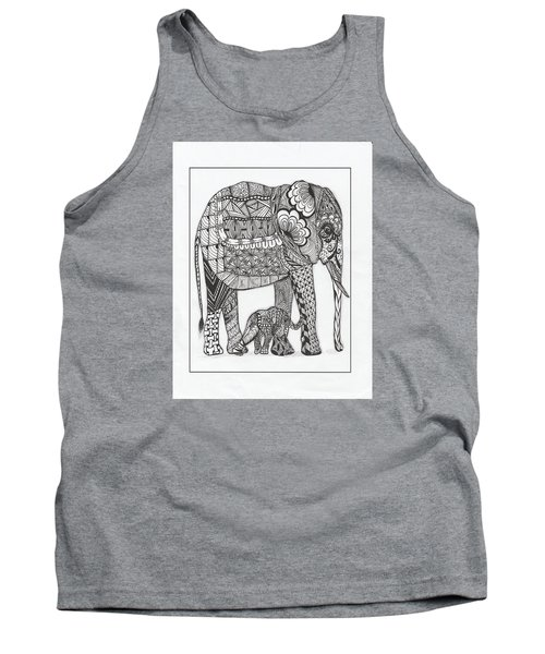 White Elephant And Baby Tank Top by Kathy Sheeran