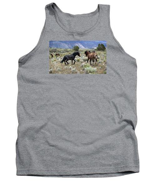 Wild Mustang Stallions Fighting Tank Top