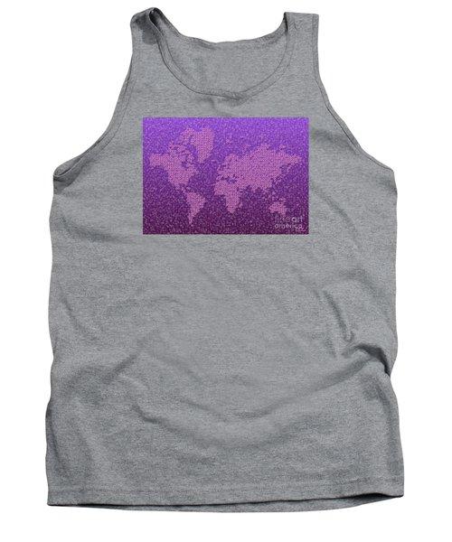 World Map Kotak In Purple Tank Top