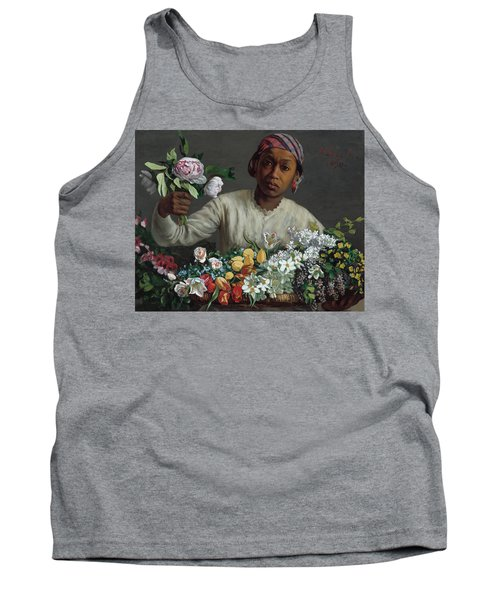 Young Woman With Peonies Tank Top