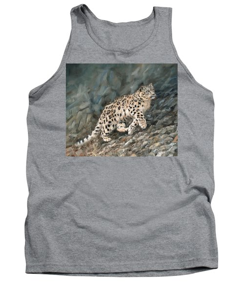 Tank Top featuring the painting Snow Leopard by David Stribbling