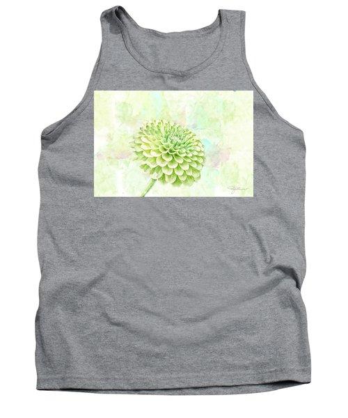 10891 Green Chrysanthemum Tank Top by Pamela Williams