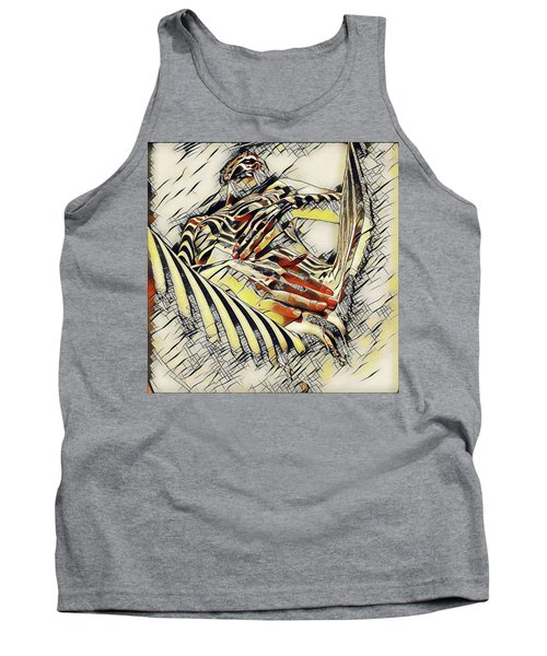 1177s-ak Abstract Nude Her Fingers On Pubis Erotica In The Style Of Kandinsky Tank Top
