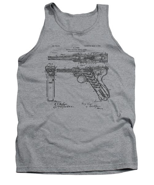 Tank Top featuring the drawing 1904 Luger Recoil Loading Small Arms Patent - Vintage by Nikki Marie Smith