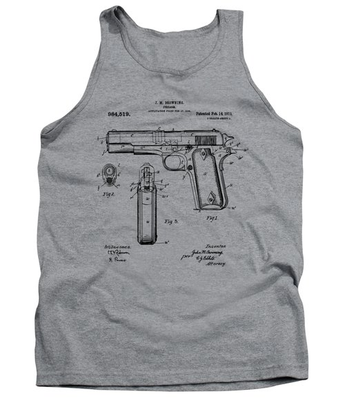 Tank Top featuring the drawing 1911 Colt 45 Browning Firearm Patent Artwork Vintage by Nikki Marie Smith