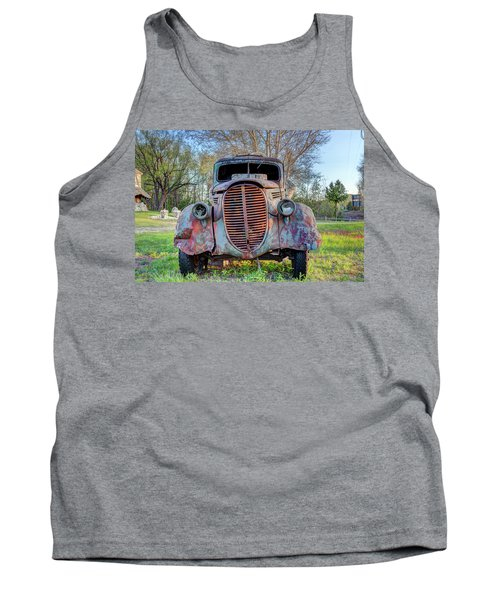 Tank Top featuring the photograph 1936 Model 511 1/2 Ton Stakebed Farm Truck Near Charlevoix, Mic by Peter Ciro