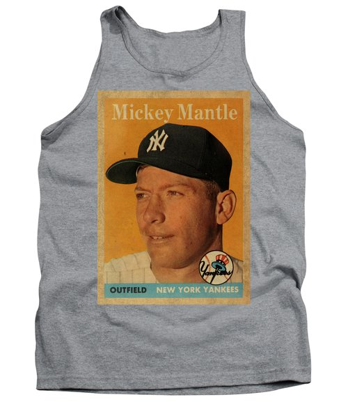 1958 Topps Baseball Mickey Mantle Card Vintage Poster Tank Top by Design Turnpike