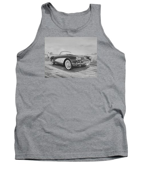 1959 Chevrolet Corvette Cabriolet In Black And White Tank Top
