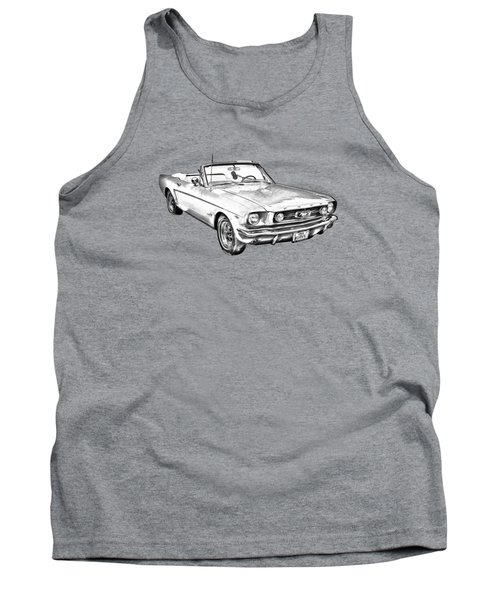 1965 Red Ford Mustang Convertible Drawing Tank Top by Keith Webber Jr