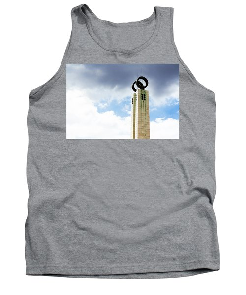 Tank Top featuring the photograph 1974 Revolution Memorial Wrapped In Clouds by Lorraine Devon Wilke