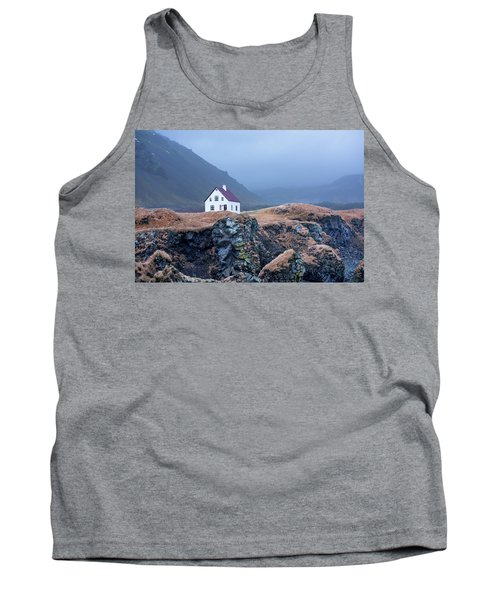 House On Ocean Cliff In Iceland Tank Top