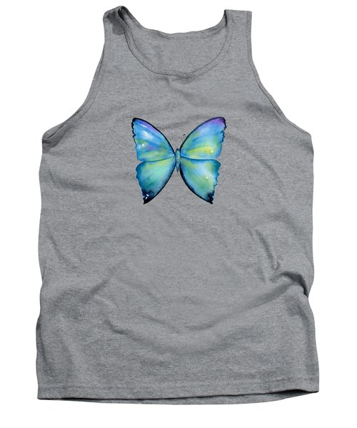 2 Morpho Aega Butterfly Tank Top by Amy Kirkpatrick