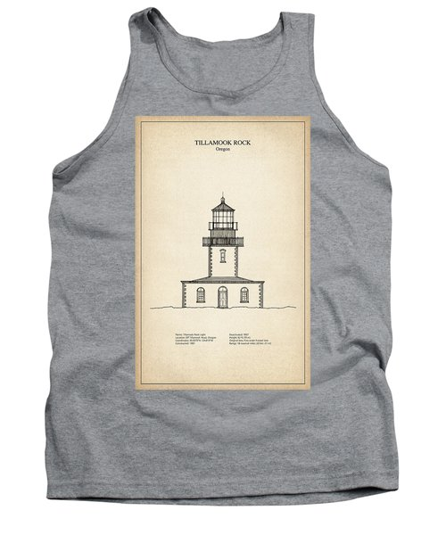 Tillamook Rock Lighthouse - Oregon  - Blueprint Drawing Tank Top