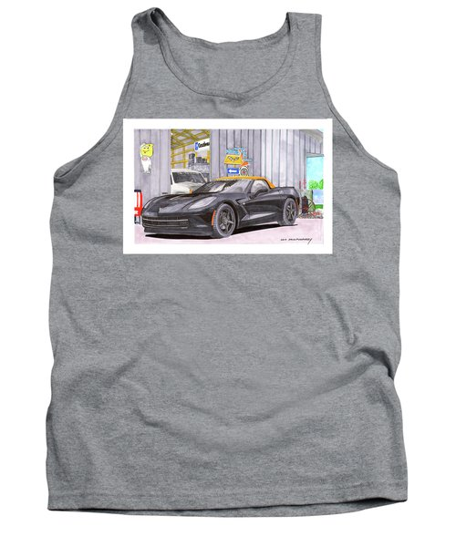 2014 Corvette And Man Cave Garage Tank Top by Jack Pumphrey