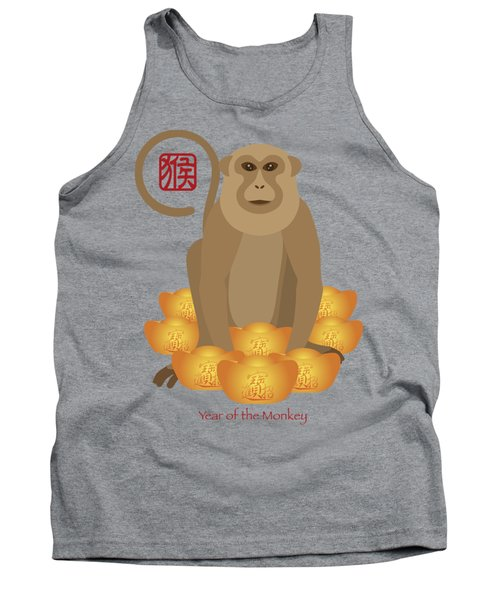 2016 Chinese Year Of The Monkey With Gold Bars Tank Top