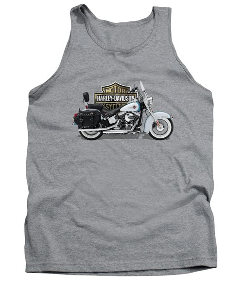Tank Top featuring the digital art 2017 Harley-davidson Heritage Softail Classic  Motorcycle With 3d Badge Over Vintage Background  by Serge Averbukh
