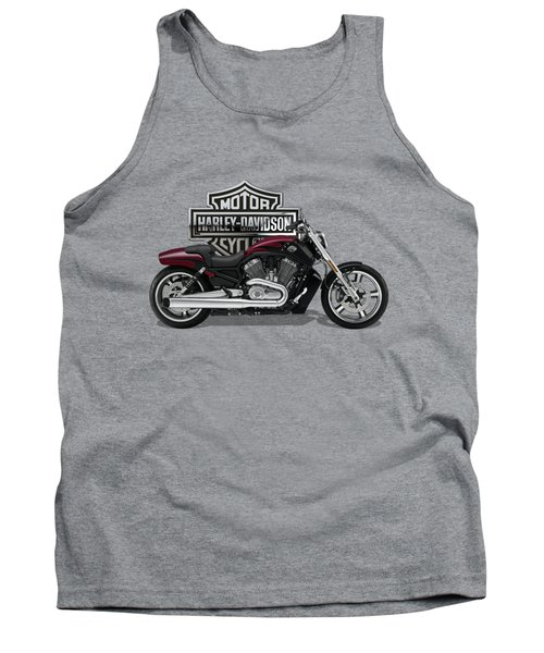 Tank Top featuring the digital art 2017 Harley-davidson V-rod Muscle Motorcycle With 3d Badge Over Vintage Background  by Serge Averbukh