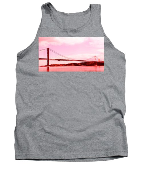 Tank Top featuring the photograph 25 De Abril Bridge In Crimson by Lorraine Devon Wilke