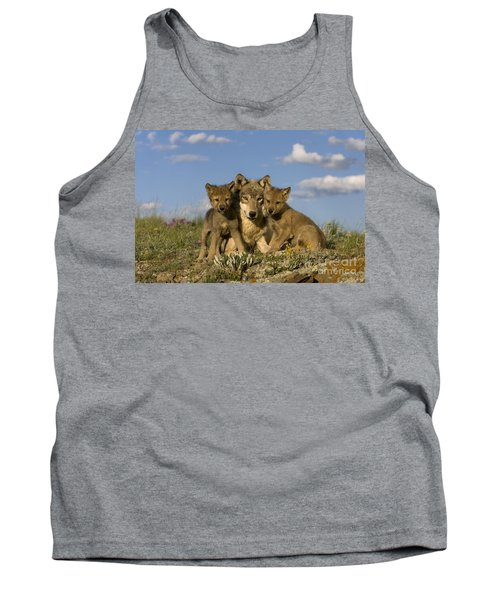 Gray Wolf And Cubs Tank Top