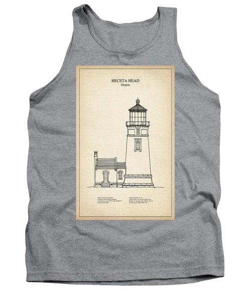 Heceta Head Lighthouse - Oregon - Blueprint Drawing Tank Top
