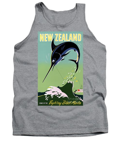 New Zealand Vintage Travel Poster Restored Tank Top