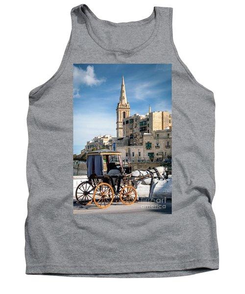 Tourist Horse Carriage In Old Town Street La Valletta Malta Tank Top