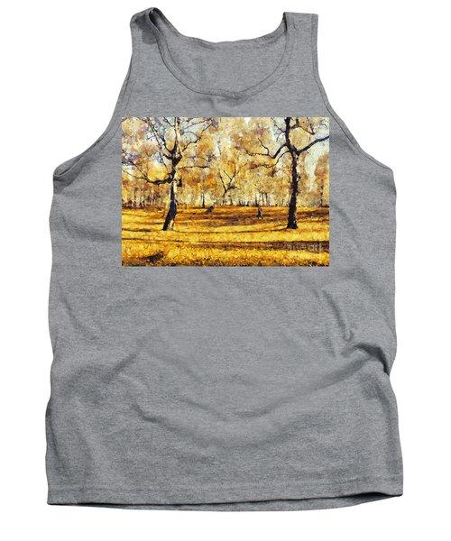 Watercolor Landscape Autumn Painting Forest Tank Top