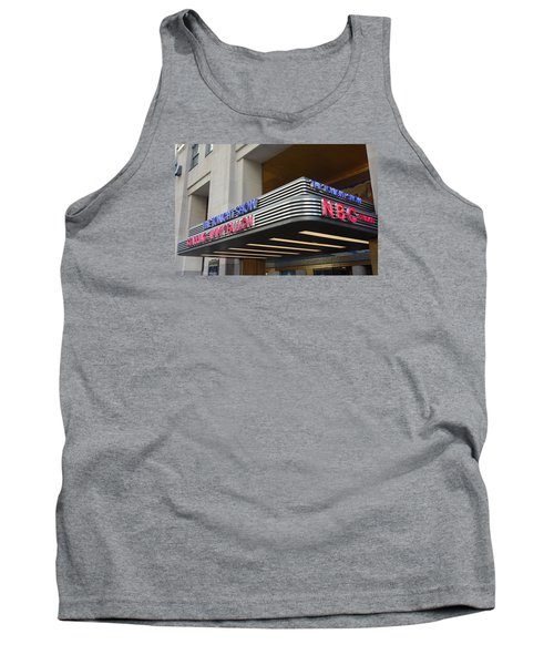 Tank Top featuring the photograph 30 Rock Jimmy Fallon Marquee by Melinda Saminski